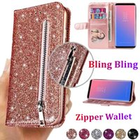 Glitter Leather Zipper Wallet Flip Cases Photo Frame Card Slot TPU Cover Free Strap For iPhone 12 11 Pro Max XR XS X 8 Plus Samsung S20 FE S21 Ultra A12 A32 A42 A52 A72 A82 A22