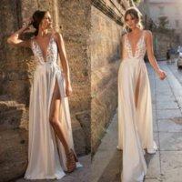 2021 Берта Богемные кружевные свадебные платья аппликации на линию глубокий V шеи разделить свадьба свадебные платья Vestido de Novia Satin Wedding платье