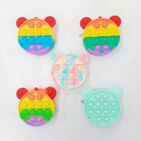 Coin Purse Decompression Fidget Toys Party Favor Rainbow Silicone Makeup Bag Stress Reliever Push Bubble Sensory Toy ZZA3355