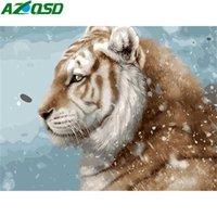 Dipinti Azqsd Tiger Paint by Number Canvas Pittura Kit Immagini Numeri Inverno Animale Inverno DA TE Decorazione Home Decor Guantipainted