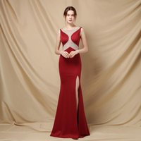 Party Dresses Simple Mermaid Diamond Round Neck Long Gown For Wedding High Slit White Backless Formal Evening Prom Black Dress