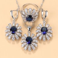 2021 Прибытие Большие Цветовые Свадебные Аксессуары Ювелирные Изделия Натуральные Голубые Каменное Ожерелье Ожерелье и Серьги Обручальные Кольцо Наборы