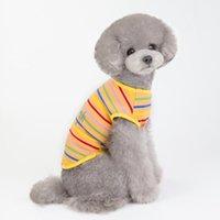 كلب الملابس الحيوانات الأليفة الملابس الكرتون المطبوعة الكلاب القطط عارضة ارتداء تي شيرت ملون جذابة الزي في الهواء الطلق