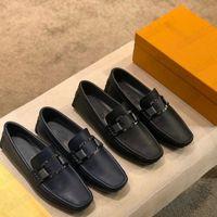 Monte Carlo Mocassin Mens Designer Loafers Skor Klassisk Slip-On Luxurys Vintage Dress Sneakers Metal Button Real Leather Brand Oxfords Casual Sko för män