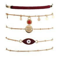 Charm Bracelets Women Black Evil Eye Shape Round Pendant Multi Layer Adjustable Open Bracelet Set Fashion Jewelry Accessories