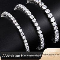 Iced out Cubic Zirconia 4mm tennis bracelet single row hip hop diamond chain women men jewelry