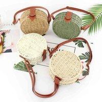 Sacos de Rattan de Caixa de Roud para Mulheres Handmade Woven Palha Sacos de Ombro de Vime Crossbyody Saco Verão Beach Bag Bohemia Bali Bolsa 2019 C0326
