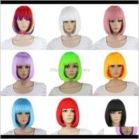 10 pollici breve Banco Bangs Blu dorato rosso nero bianco viola rosa verde marrone parrucca cosplay femminile anfol ojp1w