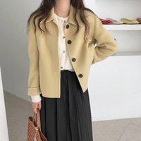Women's Jackets Casual Yellow Wool Gentle 2021 Autumn Handmade Stylish Woolen Warm Soft Women High Street Loose Brief All-Match Coats