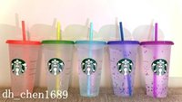 Starbucks Mermaid Goddess 24oz 710ml Plastic Cold Drink Mugs Tumbler Gift Lid Reusable Snowflake Color Changing Cups Party Gifts