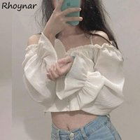 Women's Blouses & Shirts Women Streetwear Puff Sleeve Simple Summer All-match Leisure Trendy Elegant Students Solid Folds Korean Style Ladie