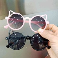 키즈 라운드 선글라스 소녀 소년 반짝이 고양이 귀 태양 안경 사랑스러운 고양이 어린이 아기 안경 패션 그라데이션 안경 UV400 도매