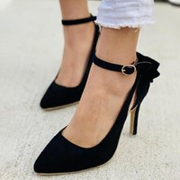 Dress Shoes 2021 Women Pointed Toe Pumps Bowknot Ankle Strap Buckle High Thin Heel Big Size Sexy Spring Ladies Party Wedding Footwear