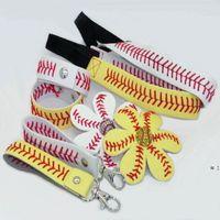 Softball / Baseball 4 kits de couro festa de couro presente um conjunto = 1 pc keychain + 1 pc pulseira + 1 pc headband + 1 pc arco de cabelo = 4 pcs combinação hwb9452