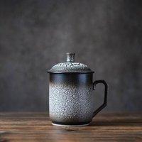 Mugs Frost Flower Natural Pattern Big Capacity Ceramic White Black Coffee Cup Lid Porcelain Tea Milk Mug Kitchen Accessories 2021