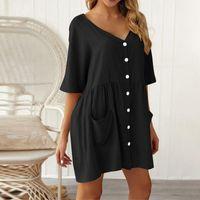Party Dresses Fashion Women's Summer Solid V Neck Shirt Dress Short Sleeve Pockets Single-breasted Mini Vacation Loose Vestidos