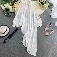 Camisa de gasa de nefloe mujeres nueva blusa sólida manga de murciélagos sueltos irregulares largos blusas moda femenina coreana tops 53989 201202