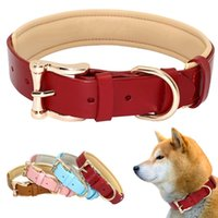 Dog Collars & Leashes Collar Leather Collares Para Perro Big Solid Adjustable Padded Pet Puppy For Small Medium Large Blue