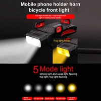 4 IN 1 Led Bicycle Front Light 4000mAh Rechargeable Horn Phone Holder Waterproof Bicycle Lamp Flashlight For Bike Light Lantern