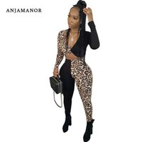 Two Piece Dress ANJAMANOR Cheetah Sexy 2 Outfits For Women Club Wear Fall Winter Plus Size Bandage Top And Pants Leggings D52-AC91