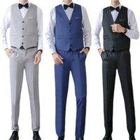 Men's Suits & Blazers Business Suit Set V Neck Formal Men Solid Color Buttons Vest Shirt Pants For Wedding