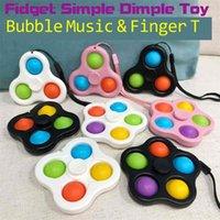 Com cordão Fidget Chaveiro Simples Brinquedos Bubble Poppers Keyring Pop Spinner Board Stress Relevo Decompression Dedo Bolhas Squishies DNA Ball G47W6PG