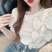 Women's T-Shirt Short Sleeve T-shirt Women Beads Chain Three-Dimensional Bow Pullover Summer Top Girls Students Tee Rop