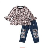 Baby Girls Clothing Set Leopard Print Long Sleeve Round Neck Tops and Jeans Two-piece Suit