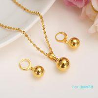 Orecchini collana oro bella perlina set gioielli set pendente rotondo catena a catena a sfera goccia per le donne arabo arabo etiopico da sposa regalo weddin