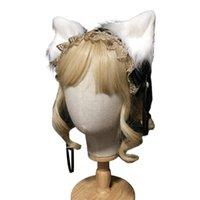 일본어 로리타 하녀 황금 레이스 머리띠 리본 나비 플러시 새끼 고양이 늑대 귀 털 밴드 애니메이션 고딕 코스프레 파티 의상