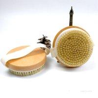 Kein Griff Holzbadbürste Trockenkörper Borstenbürste mit Massageknoten Runde Duschbürste für trockene Haut Bürsten T2I51906