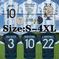 Argentina Maradona Messi Jerseys 2021 22 Home Away Kun Agüero Di Maria Lo Celso Martinez Correa Camisa de Futebol Tamanho S-4XL