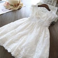 Girl's Dresses White Lace Flower Girl Dress For Kids Wedding Baby 2 3 4 5 6 7 8 10 Years Birthday Girls Evening Party
