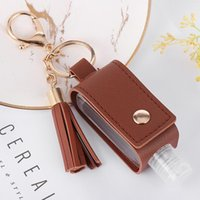 Party Favor Hand Sanitizer Holder With Bottle Leather Tassel Keychain Portable Disinfectant Case Empty Bottles Keychains OWB7239