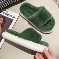 Slippers 2021 Women's Home Thick Soft Designer Shoes Fur Furry Fashion Platform Indoor Slides Winter Warm House