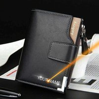 Custom wallet, engraved with men's name, zipper holder, fashion, synthetic leather, high quality J0604