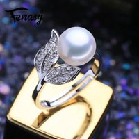 Cluster Rings FENASY Natural Freshwater Pearl Boho 925 Sterling Silver Vintage Ring For Women Wave Jewelry CZ Cubic Zirconia