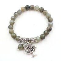 Flash flash allongé 8mm perle ronde aura arbre de vie énergétique bracelet cristal femelle