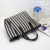 Women one shoulder shopping bag Big high-capacity High quality Canvas material Wholesale Fashion Bags Handbag Stripes Tote Black Blue CVR36