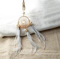 Pearl Feather Key Chains Titulaire de DreamCatcher Pendentifs Car Keychain pour filles Femmes Sac Suspending Mode Charm Charm Anneaux Accessoires 906 Q2