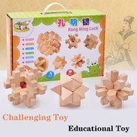 6 pçs / pack IQ Teaser Cérebro Kong Ming Lugar Lu Banca 3D Madeira Interlocking Quebra-cabeças Jogo Brinquedo Parent-Child Interaction Brinquedo Presente