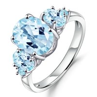 Cluster Rings GEM'S BALLET 4.77Ct Oval Natural Sky Blue Topaz Gemstone Ring 100% 925 Sterling Silver For Women Wedding Fine Jewelry