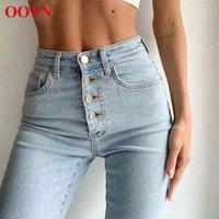 Ootn Casual High Waist Jeans Pantaloni Single Breasted Skinny Denim Pantaloni Pantaloni Matita Femmina Autmn Jeans Inverno Donne Coreano 2020 Blu Y0320