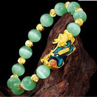 Link, Chain Hi Green Beads Unisex Temperature Transform PI Xiu Bracelet 24k Gold Hand Party Friend Birthday Gift Fine Jewelry