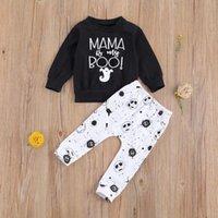 Clothing Sets Baby & Children's 0-24M Born Boy Clothes Set Autumn Black Ghost Letter Top Hoodies Pants Outfits 2PCs