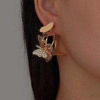 Hoop & Huggie VSnow Luxury C Shape Rhinestone Butterfly Earring For Women Gold Silver Color Metallic Hollow Out Open Jewellery