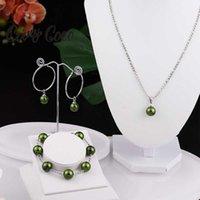 Earrings & Necklace Cring Coco Stainless Steel Jewelry Sets Green Pearl Bracelet Pendant Necklaces Hoop Earring Set Hawaiian For Women 2021