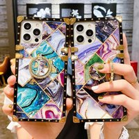 Square Designers Phone Cases For iphone 13 12 11 Pro Max XR XS X 8 7 PLUS Bling Metal Shining Gradient Fashion Ring Holder Stand Cover Case