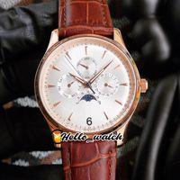 40 мм Master Control Q149842A 149842 Часы белый циферблат автоматические мужские часы Q149347A 149347 Rose Gold Case коричневый кожаный ремешок HWJL Hello_Watch