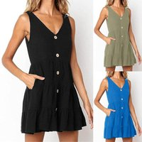 Casual Dresses 2021 Women's Summer Swing T-shirt Beach Cover Up With Pockets Fashion Loose Dress Vestido De Mujer#Y5